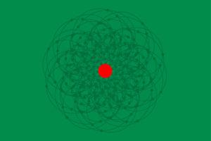 Il punto di luce rosso complementare al campo verde.